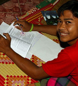 Cambodian Kid Studying